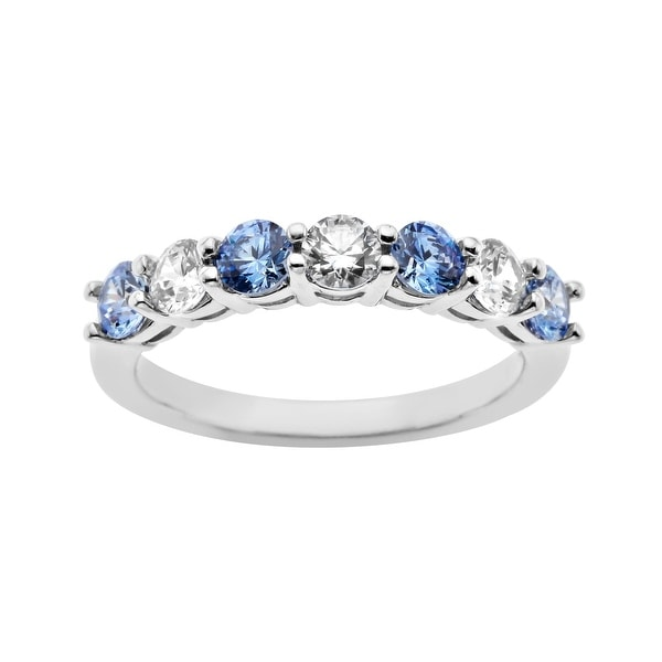 Band with Fancy Blue and White Cubic Zirconia in Sterling Silver