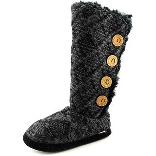 Muk Luks Malena Women Round Toe Canvas Black Winter Boot