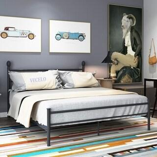 Shop Vecelo Platform Bed Frame Metal Bed With Headboard