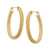 Just Gold Oval Lattice-Weave Hoop Earrings in 14K Gold - YELLOW