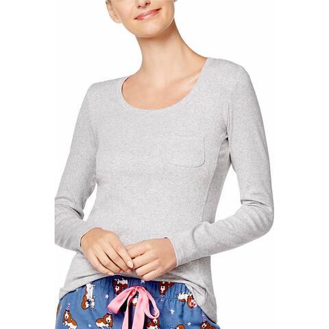 Jenni by Jennifer Moore Women's Heather-Grey Ribbed Pajama Top Size Small - Gray