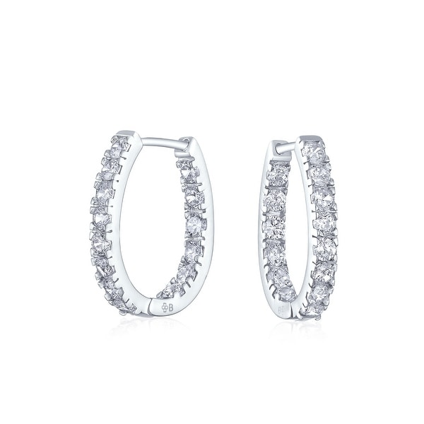 Shop Bridal Oval shape Inside Out Channel Set CZ Small Hoop Earrings of Women  Cubic Zirconia 925 Sterling Silver .60 Inch Dia - On Sale - Free Shipping  On ... b0e112bcd2