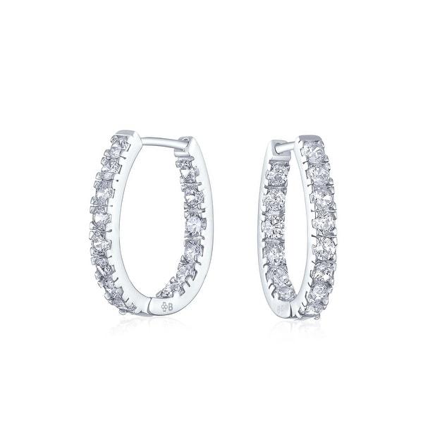 d4bd1922abd9b Bridal Oval shape Inside Out Channel Set CZ Small Hoop Earrings of Women  Cubic Zirconia 925 Sterling Silver .60 Inch Dia