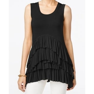Grace Elements NEW Black Women's Size XS Tiered Ruffled Tank Cami Top