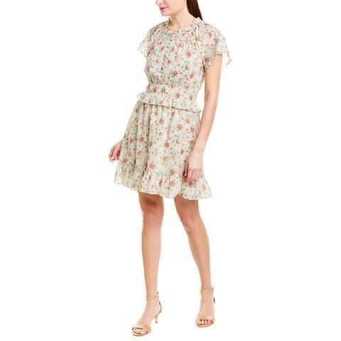 Rebecca Taylor Carnation Silk-Blend A-Line Dress