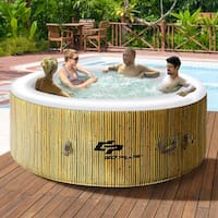Goplus 4 Person Inflatable Hot Tub Outdoor Jets Portable Heated Bubble Massage Spa - as pic