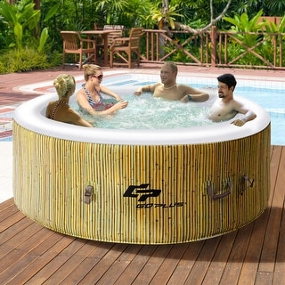 Goplus 4 Person Inflatable Hot Tub Outdoor Jets Portable Heated Bubble  Massage Spa   As Pic