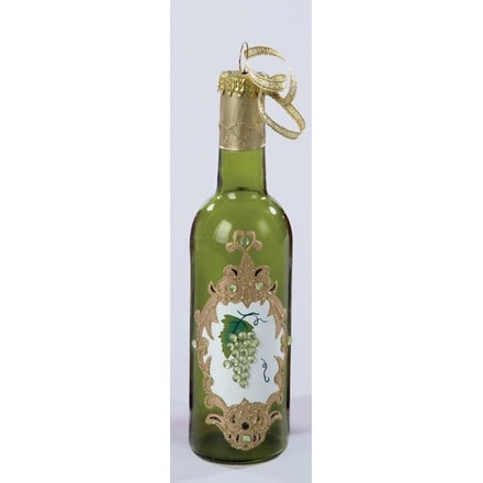 """5.5"""" Tuscan Winery Glass Green Wine Bottle Christmas Ornament"""