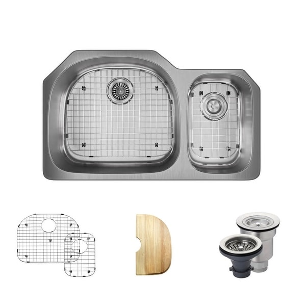 """Rene R1-1007L 35"""" Double Basin Stainless Steel Kitchen Sink - Basin Rack, Basket Strainer, and Cutting Board Included"""