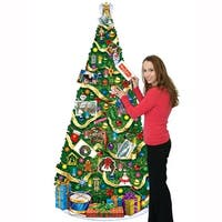 Club Pack of 12 Multi-Colored Jointed Christmas Tree Holiday Decorations 6' - Multi
