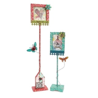 """Pack of 2 Red and Blue Decorative Plaque with Butterfly Stand 28"""""""