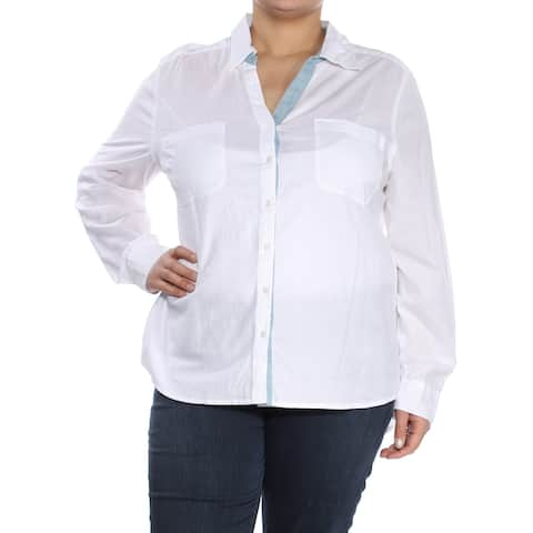 STYLE & CO Womens White Cuffed Collared Button Up Top Plus Size: XL