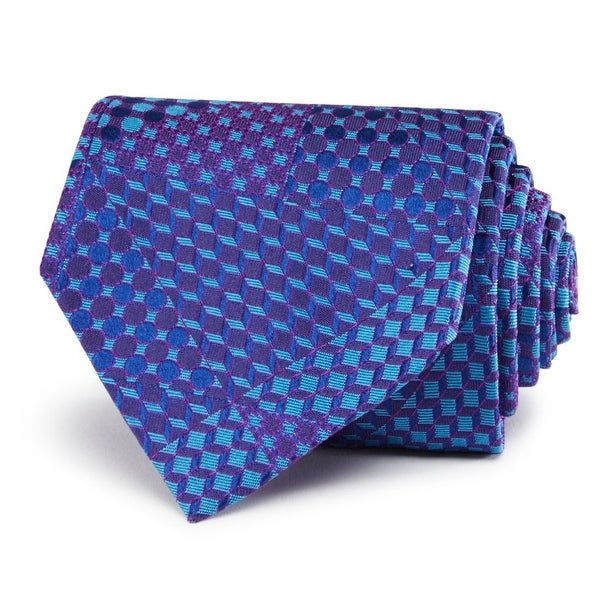 93403a2c3c83 Shop Turnbull & Asser NEW Blue Men's Wide Geometric-Print Silk Neck Tie -  Free Shipping Today - Overstock - 18229915