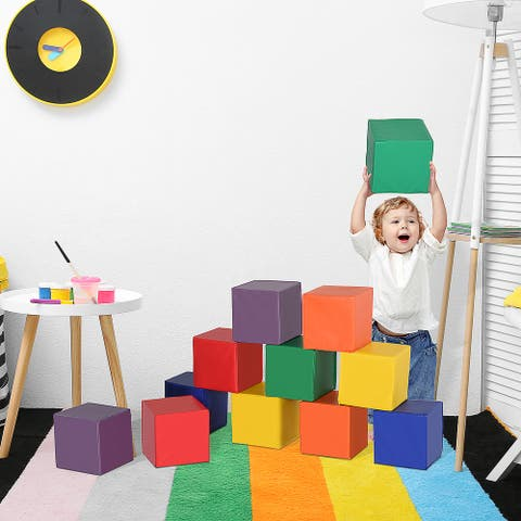 Soozier 12 Piece Soft Foam Building Play Blocks for Toddlers with Bright Colors, Safe Materials, & Endless Possibilities