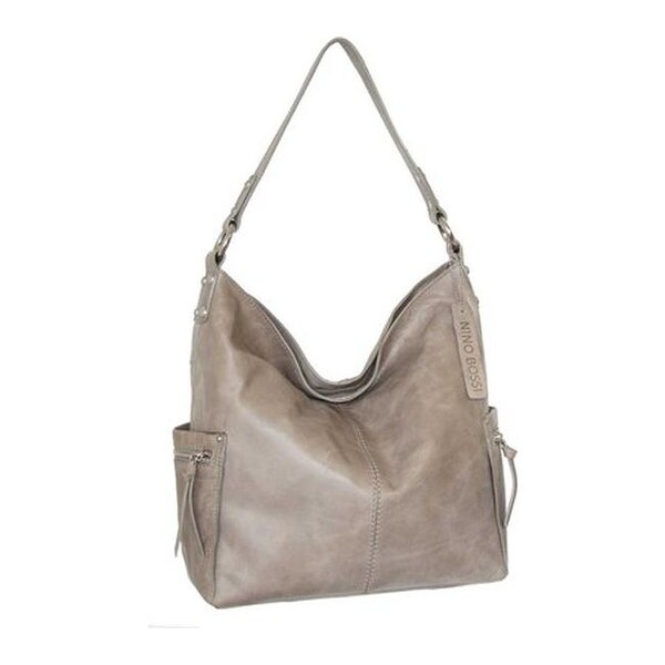 Nino Bossi Women  x27 s Cool Kyah Leather Hobo Handbag Stone - US Women  e32d6ae300559