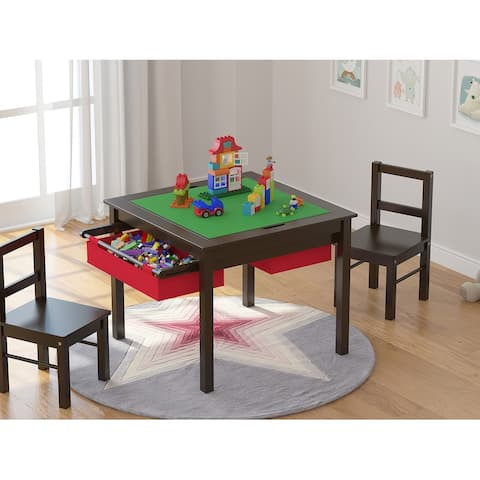 UTEX-2 in 1 Kids Activity Lego Table Set with Storage, Kids Table with 2 Chairs, Espresso with Red Drawer