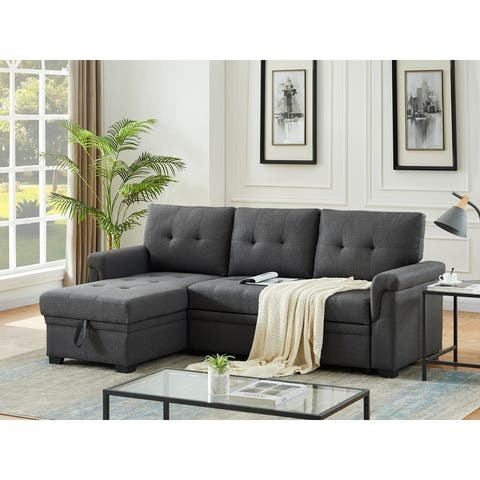 Copper Grove Perreux Linen Reversible Sleeper Sectional Sofa