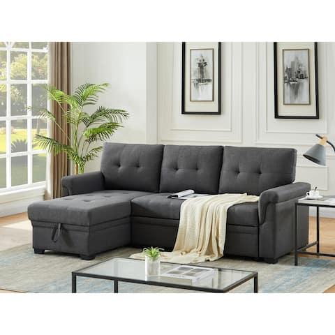 Copper Grove Perreux Linen Reversible Sleeper Sectional Sofa