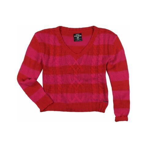 Ecko Unltd. Womens Open Neck Stripe Metallic Cable Cardigan Sweater
