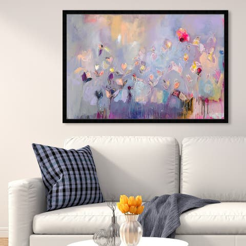 Oliver Gal 'Michaela Nessim - Infinitely Divine' Abstract Framed Wall Art Prints Paint - Purple, Pink