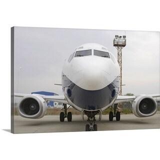 """Airplane on runway"" Canvas Wall Art"