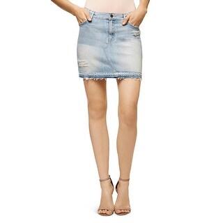 Sanctuary Womens Peyton Mini Skirt Denim Destroyed