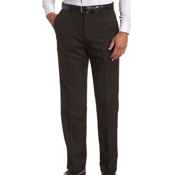 3c3c5721 Shop Haggar Black Mens Size 34X30 Flat Front Solid Khaki Chino Pants ...