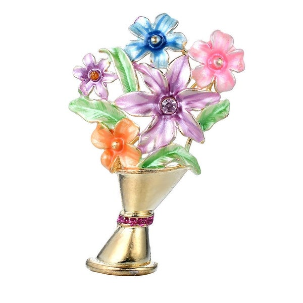 68b5988c8e54f Shop Sparkly Gold Tone Colorful Hand Painted Flower Bouquet w/Lavender  Crystal Accent,