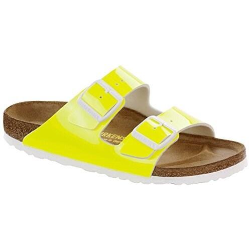 Birkenstock Women's Arizona Neon Yellow Patent Birko-Flor 37 N