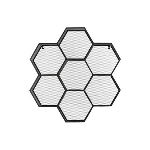 Metal Shelf Polyhexagonal with Mesh Backing and 7 Shelves - Black