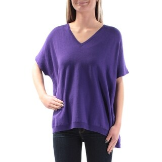 Womens Purple Short Sleeve V Neck Casual Hi-Lo Sweater Size XS