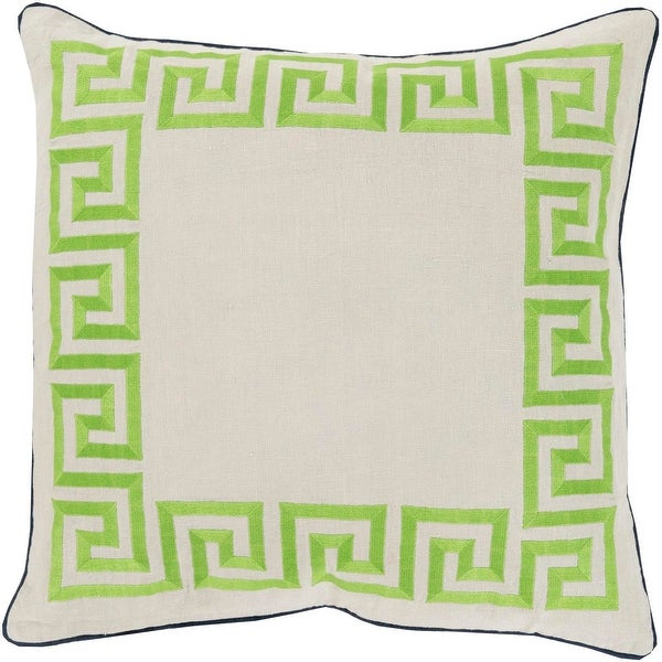 "22"" White and Lime Green Wavering Bordered Square Throw Pillow with Piping"