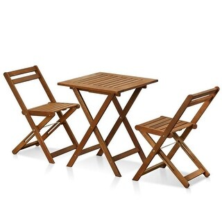 Furinno Tioman Outdoor Hardwood Bistro Set in Teak Oil - 3 Piece