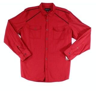 INC NEW Burgundy Red Mens Size XL Button Down Contrast Seam Shirt