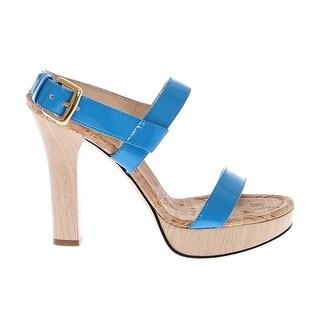Dolce & Gabbana Blue Platform Leather Sandals Shoes - 37.5