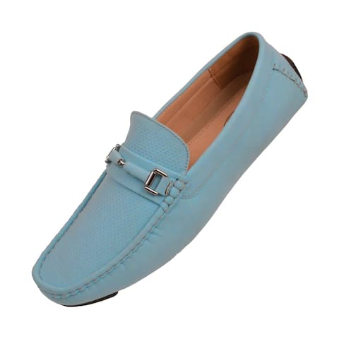 Amali Mens Classic Textured Smooth Penny Loafer Driving Slip On