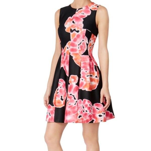 bdb9b82c4da3de Shop Calvin Klein NEW Black Womens Size 6 Tie-Dye Print Scuba Sheath Dress  - Free Shipping On Orders Over  45 - Overstock - 18321599