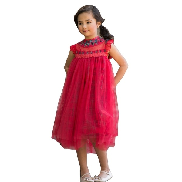 49e63202185d Shop Little Girls Plaid Red Lace Tulle Smock T-Length Magnolia Christmas  Dress - Free Shipping On Orders Over $45 - Overstock - 25542889