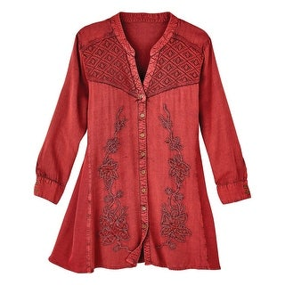Women's Button Front Blouse - Red Currant Floral Embroidered Shirt