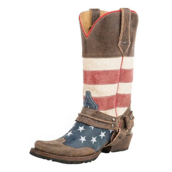 Roper Western Boots Mens American Biker Brown