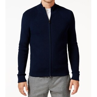 Michael Kors NEW Midnight Blue Mens Size Large L Full Zip Sweater