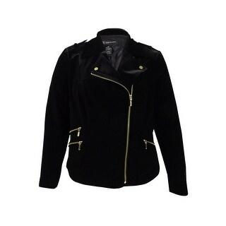 INC International Concepts Women's Plus Velvet Moto Jacket (0X, Deep Black) - Deep Black