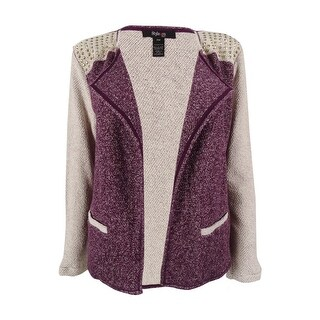 Style & Co. Women's Studded Open Front Sweater Blazer - sugar plum (2 options available)