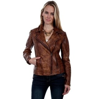 Scully Western Jacket Womens Motorcycle Asymmetrical Zip Leather L87