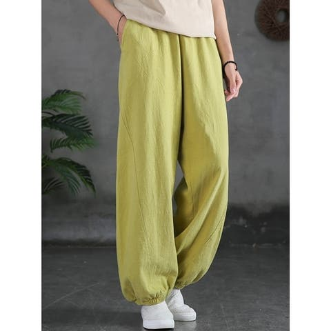 Simple Casual Loose Linen 7 Colors Color Pleated Elasticity Knickerbockers
