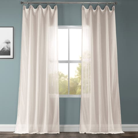 Exclusive Fabrics Solid Faux Linen Sheer Curtain (1 Panel)