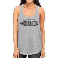 Summer Calling Its Surf Time Womens Gray Cotton Graphic Tank Top