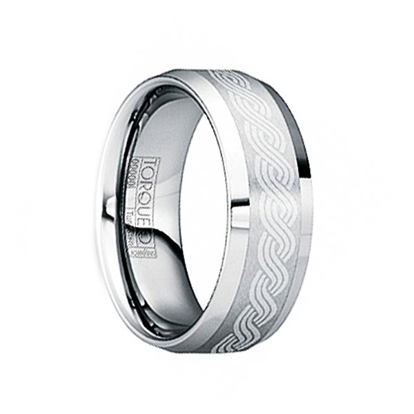 HILARIUS Tungsten Wedding Ring with Brushed Celtic Center & Polished Edges by Crown Ring