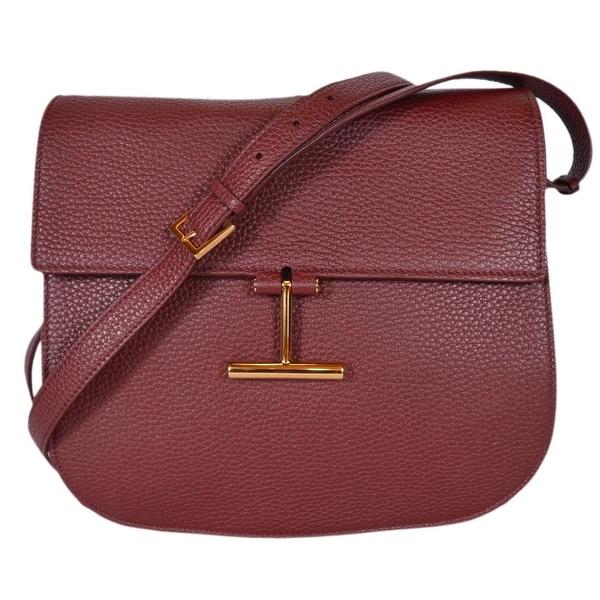 Shop Tom Ford Women s Burgundy Red Leather Crossbody Purse Saddle ... 90bffc70e55ae