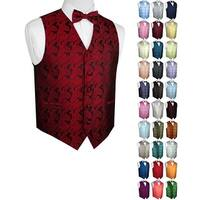 Men's Paisley Formal Tuxedo Vest and Bow-Tie Tie Set. Wedding, Prom, Cruise, Special Occasion